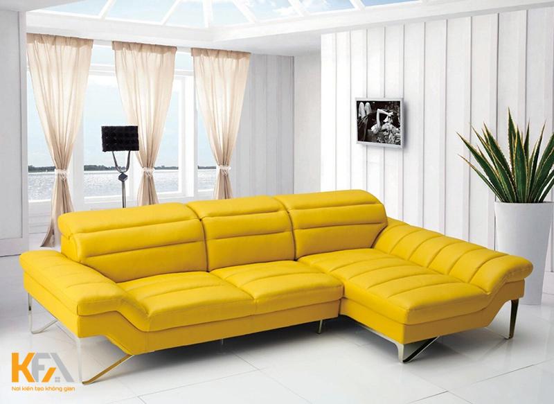 Phòng khách đẹp và cực nổi bật với mẫu ghế sofa màu vàng