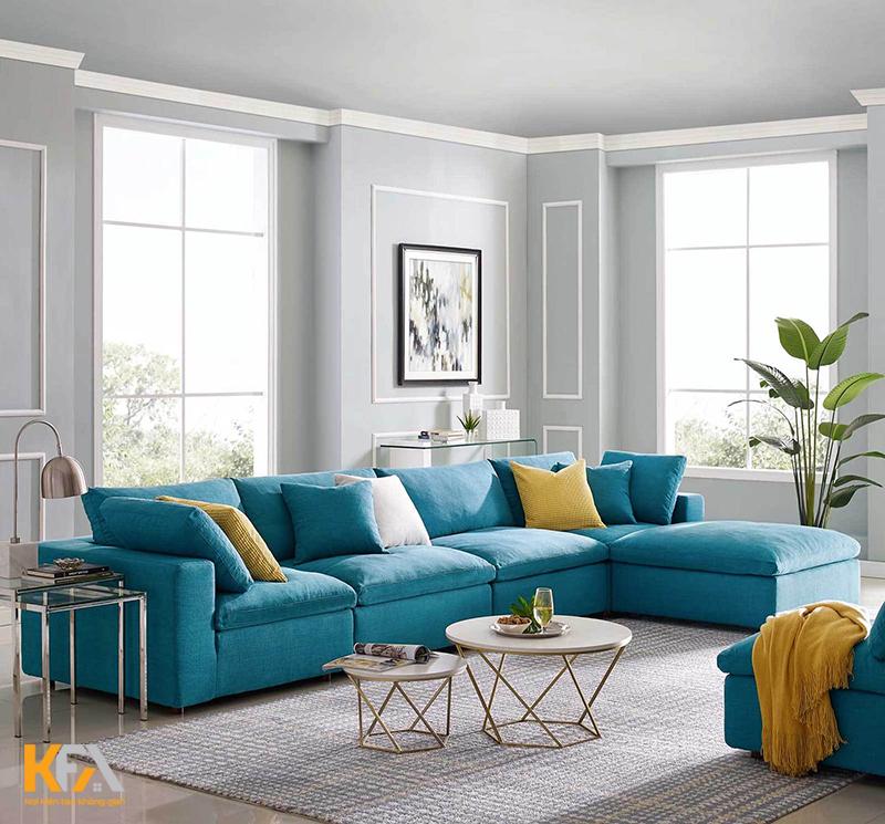 Phòng khách đẹp và cực nổi bật với mẫu ghế sofa màu xanh