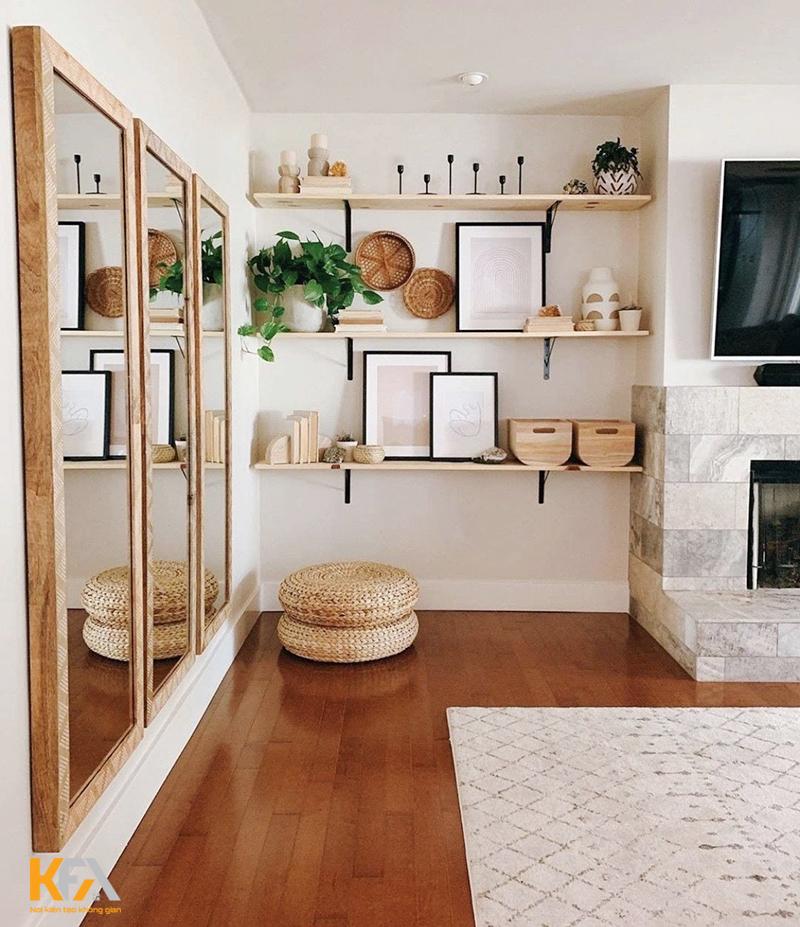 Kệ trang trí phòng khách nhỏ treo tường