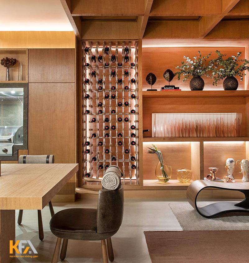Mẫu tủ rượu làm bằng kính dành cho chung cư hiện đại