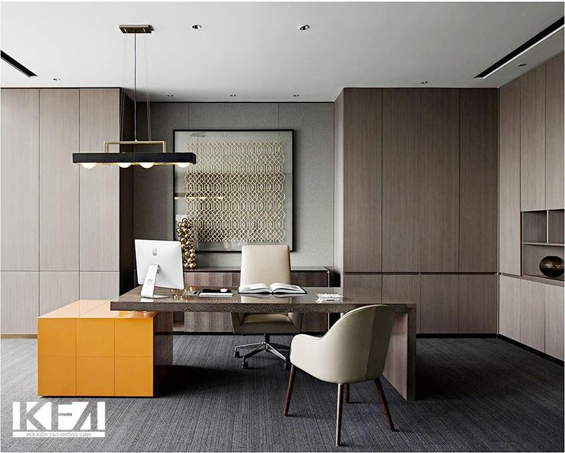 Nội thất đẹp phòng làm việc chung cư hiện đại 60m2.