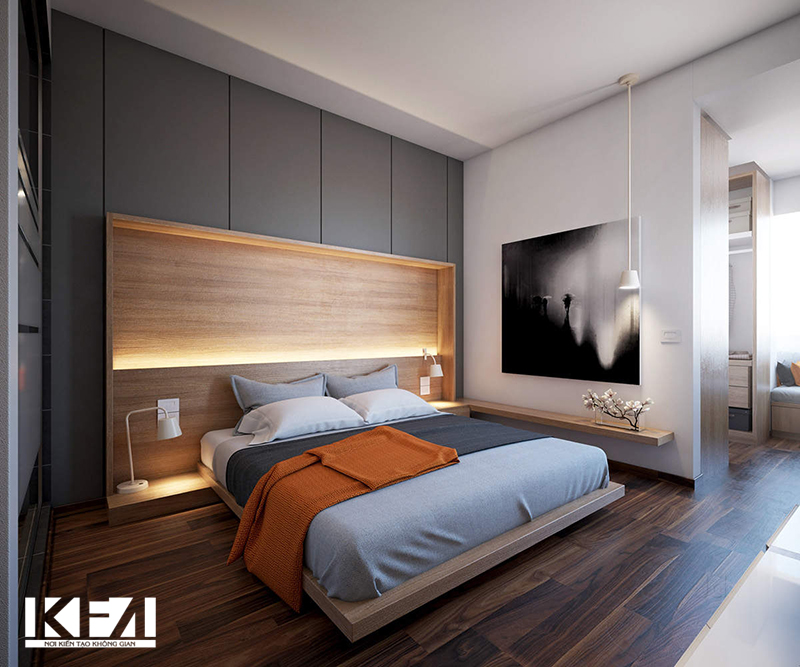 Nội thất đẹp phòng ngủ chung cư hiện đại 60m2.