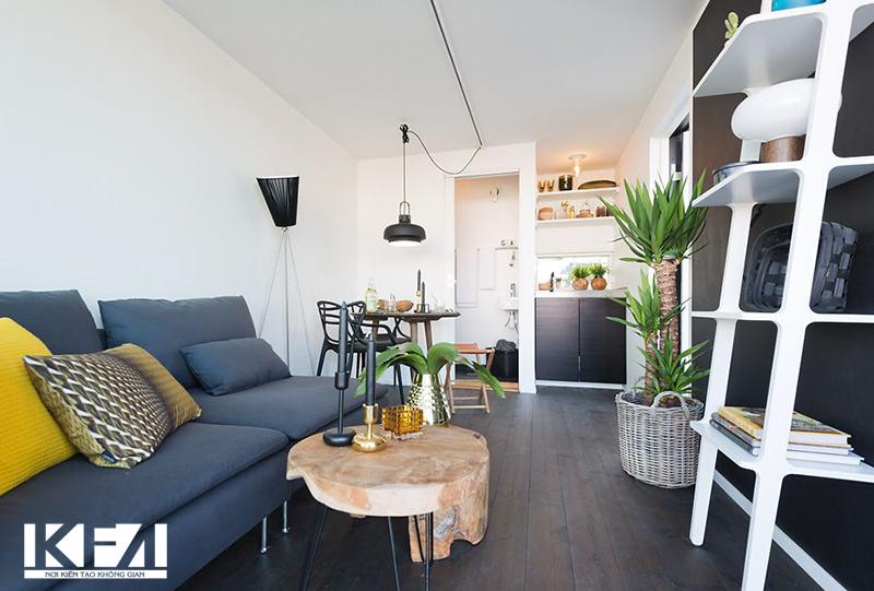 Phòng khách chung cư 15m2.