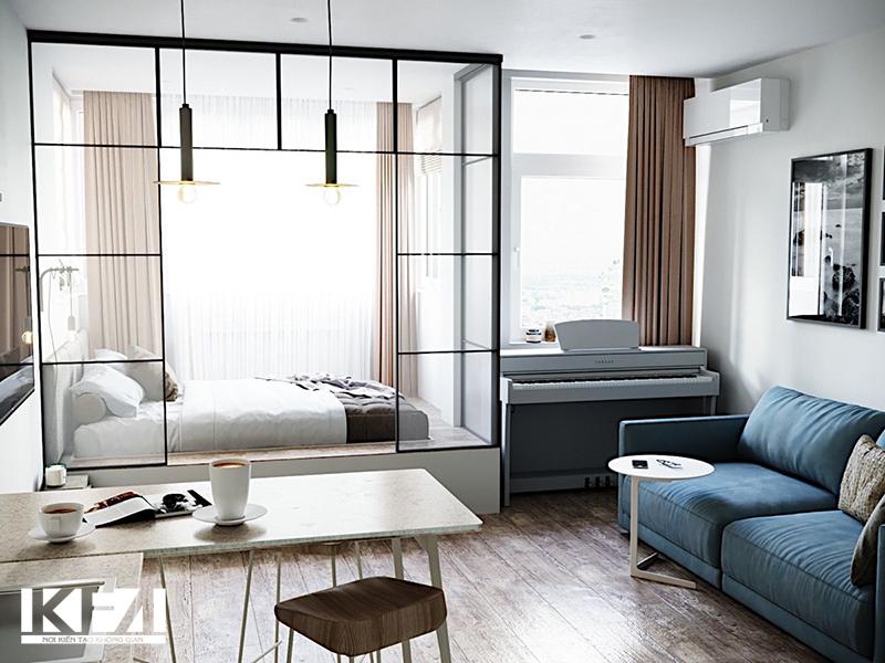 Phòng khách chung cư 18m2.
