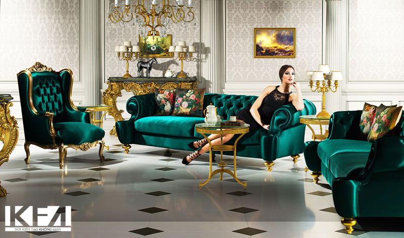 Mẫu phòng khách chung cư đẹp phong cách tân cổ điển
