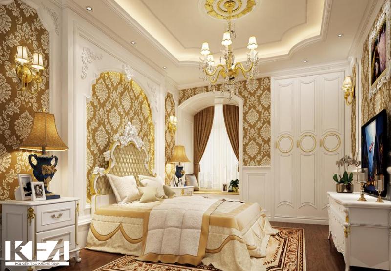 Giường ngủ được thiết kế theo phong cách tân cổ điển