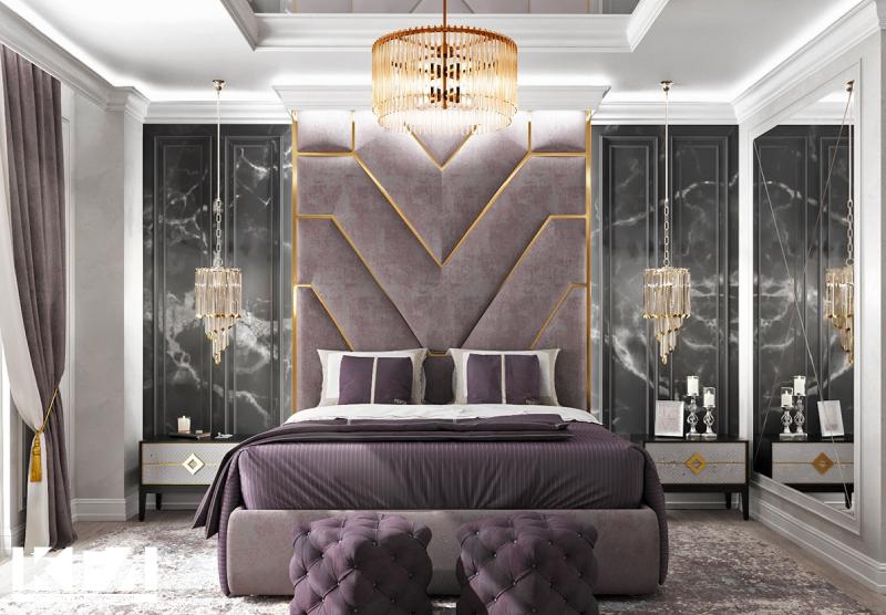 Phòng ngủ phong cách tân cổ điển được sử dụng các gam màu sang trọng