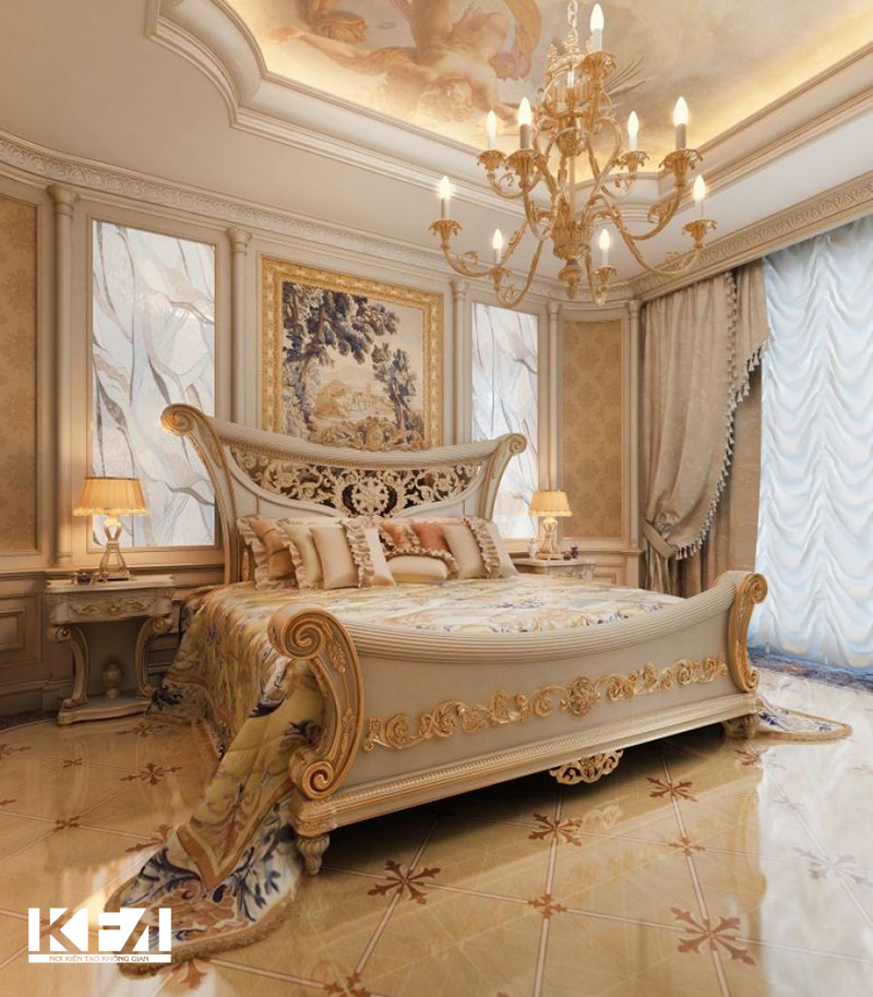 Nội thất chung cư hai phòng ngủ phong cách châu Âu