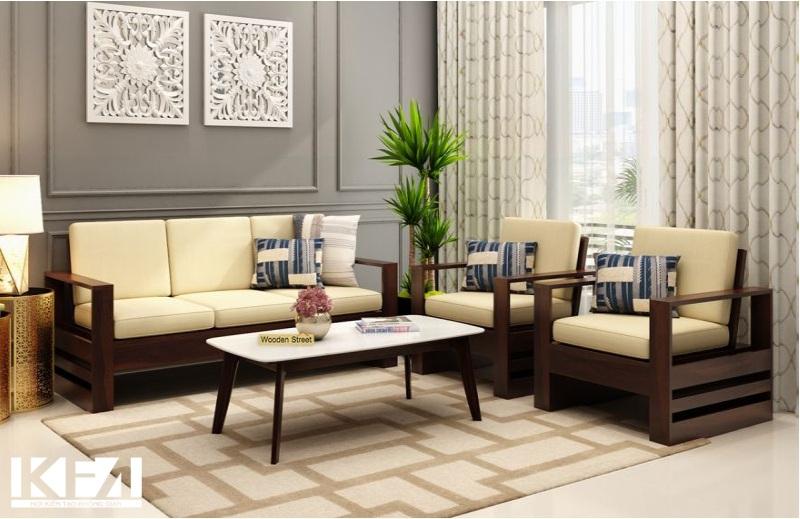Mẫu sofa gỗ óc chó đẹp hoàn mỹ