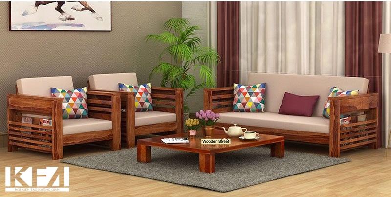 Mẫu sofa gỗ sồi mộc mạc, tinh tế
