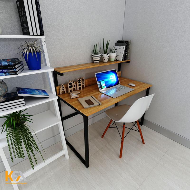 Thiết kế bàn làm việc phòng ngủ kết hợp kệ sách