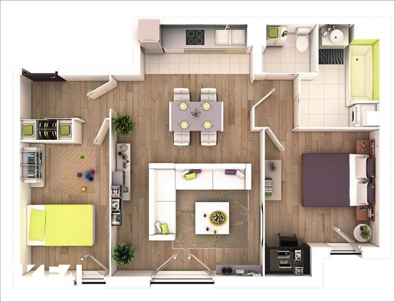 Trang tríphòng bếp căn hộ 2 phòng ngủ