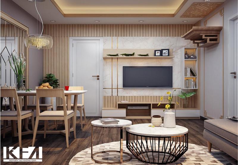 Sự tận dụng tối đa giữa không gian phòng bếp và phòng khách
