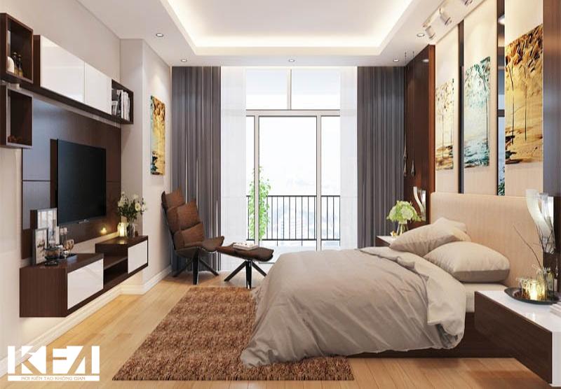 Phòng ngủ với gam màu trung tính kết hợp với điểm nhấn là những bức tranh treo tường