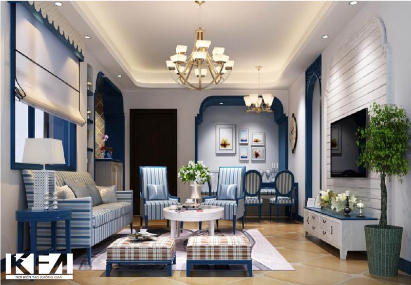 Thiết kế nội thất chung cư hơi hướng Địa Trung Hải