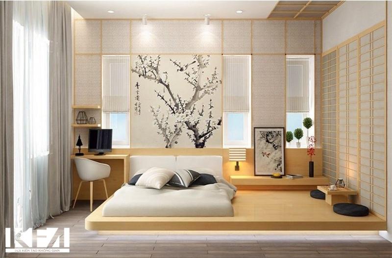 Giường gỗ thiết kế phong cách Nhật Bản