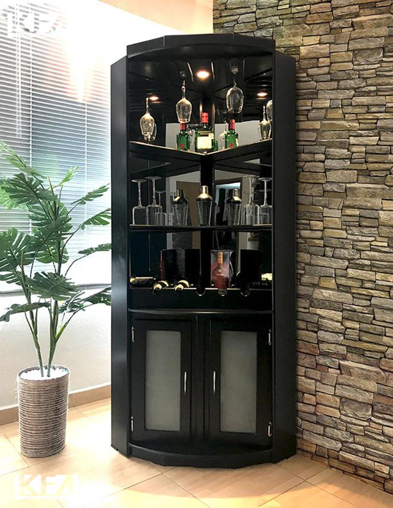 Tủ rượu góc hiện đại dành cho phòng khách