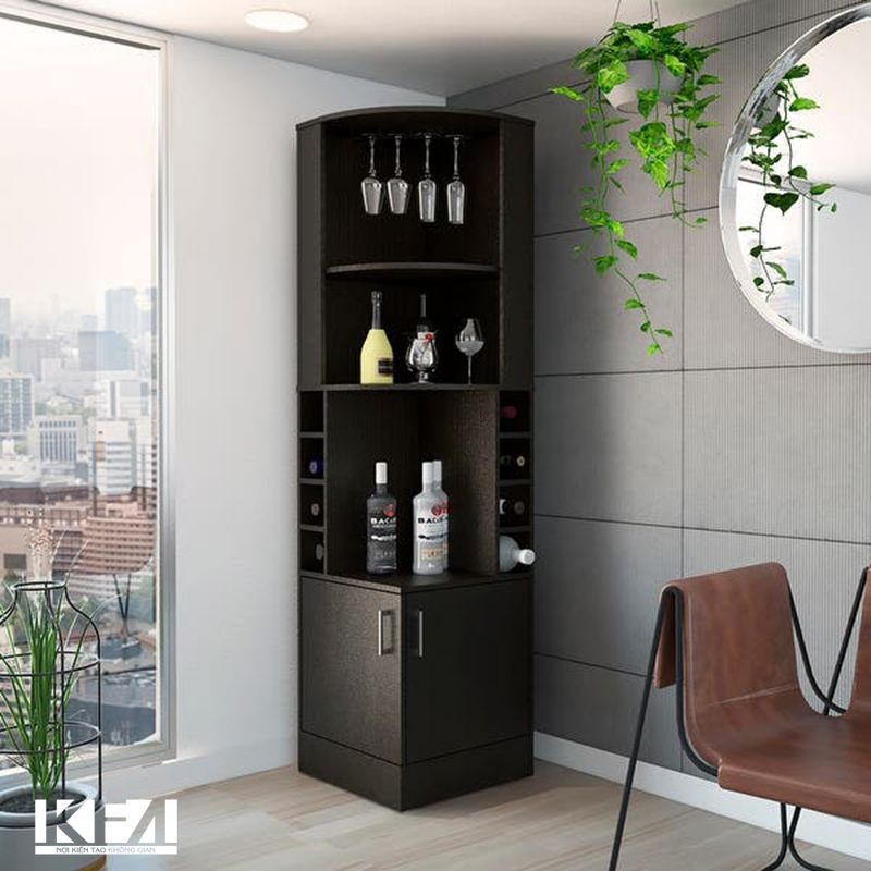 Mẫu tủ rượu góc dành cho phòng khách