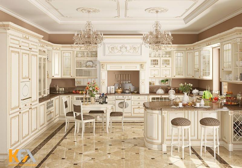 Thiết kế không gian bếp đẹp theo phong cách cổ điển