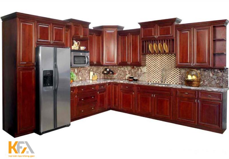 Tủ bếp gỗ có tính cách nhiệt tốt, gần gũi với thiên nhiên, bề mặt nhẵn bóng