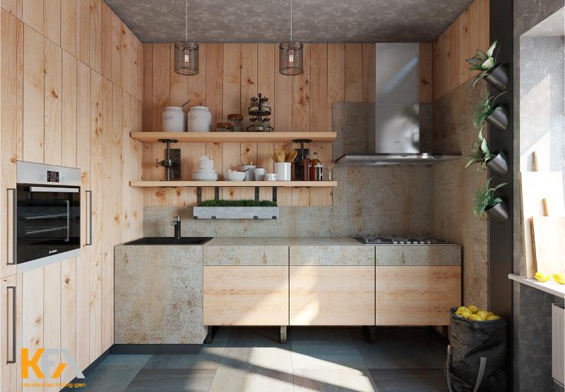 Phòng bếp tiện nghi, mới lạ với tủ gỗ mộc