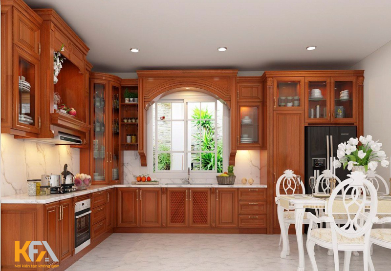 Căn bếp đặc trưng với tủ bếp màu cánh gián sang trọng