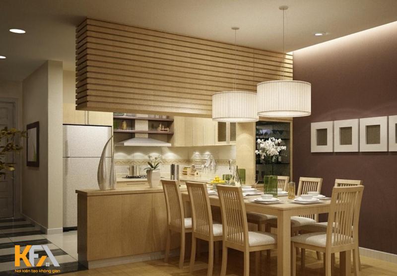 tạo điểm nhấn thu hút còn tạo không gian sang trọng cho gian bếp nhỏ