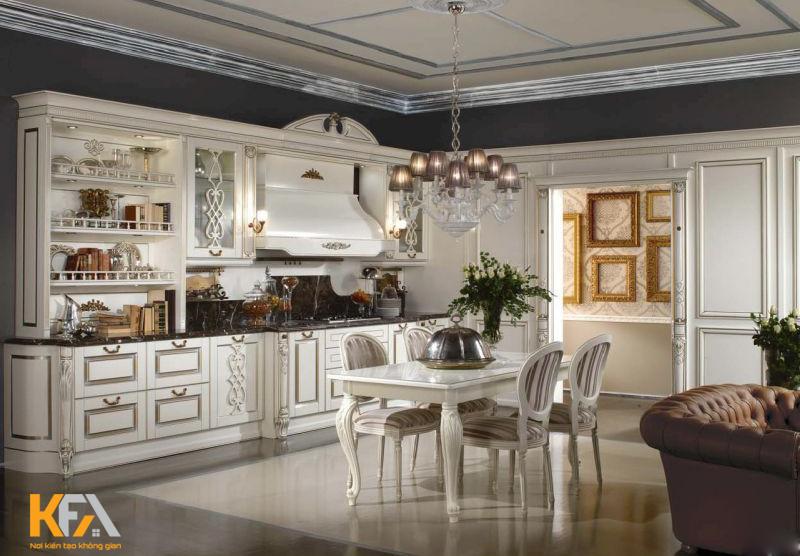 Tủ bếp cổ điển luôn hướng tới việc coi trọng nghệ thuật trong trang trí