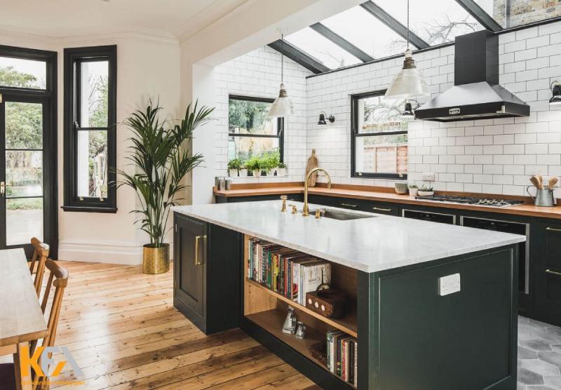 Mẫu đảo bếp đẹp với 2 màu đen trắng hiện đại