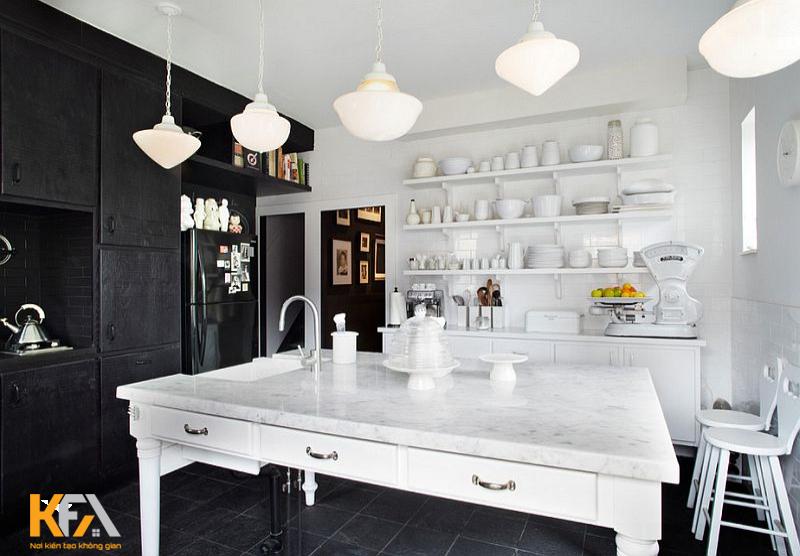 Mẫu thiết kế ưu tiên phong cách tối giản nhưng độc đáo với sự đối lập của hai màu đen trắng.