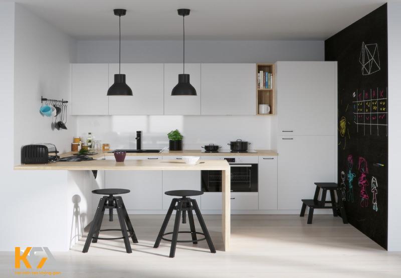 Nhà bếp phong cách đối lập đen trắng độc đáo