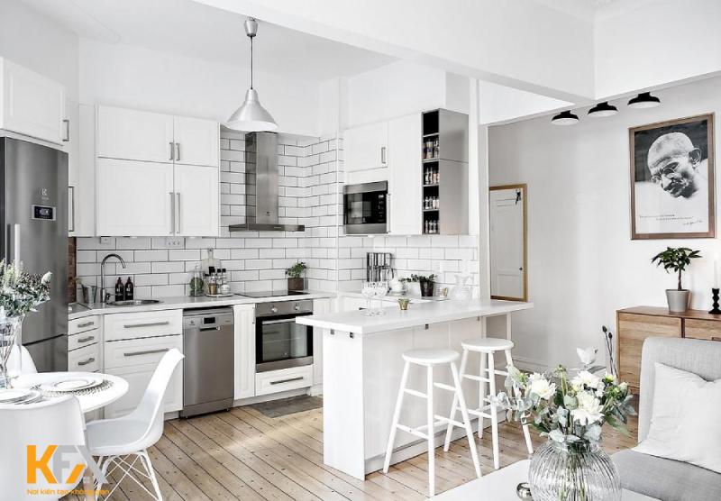 Sử dụng quầy bar phân chia phòng bếp và phòng khách