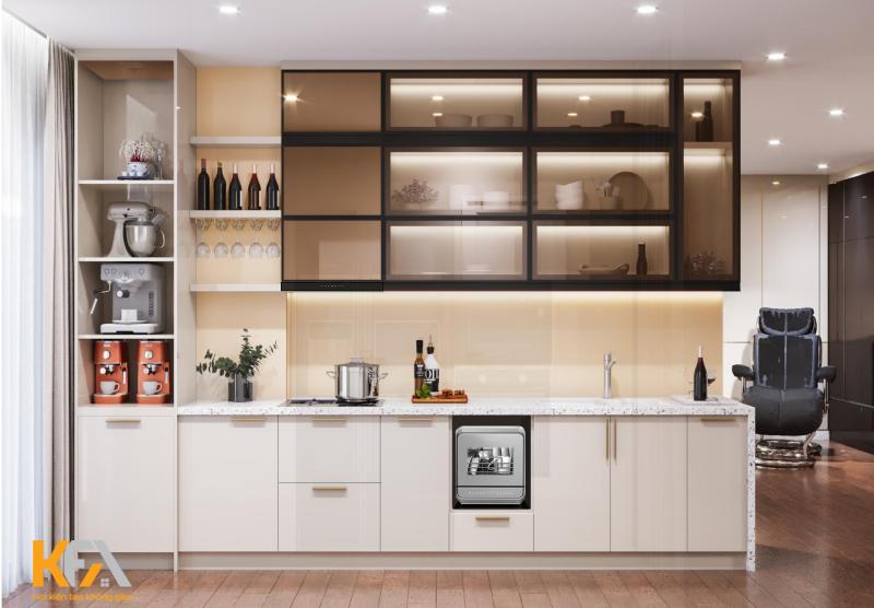 Sử dụng tủ bếp treo tường áp trần cho mẫu nhà bếp nhỏ đẹp