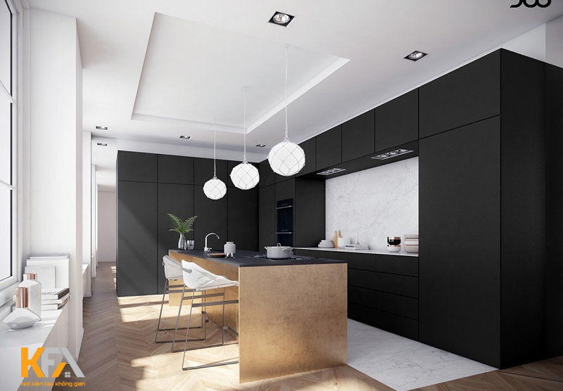 Phòng bếp chung cư được thiết kế theo phong cách hiện đại, với gam màu chủ đạo và bàn ăn tiết kiệm diện tích
