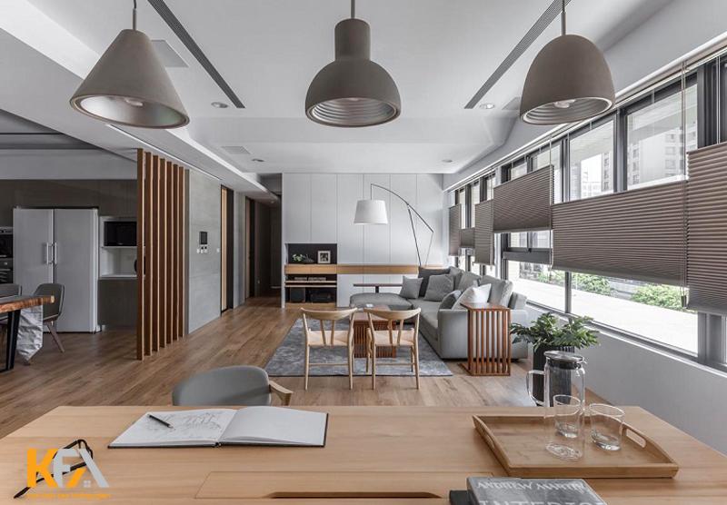 Phòng bếp chung cư được thiết kế sát cửa sổ để lấy sáng và thông gió