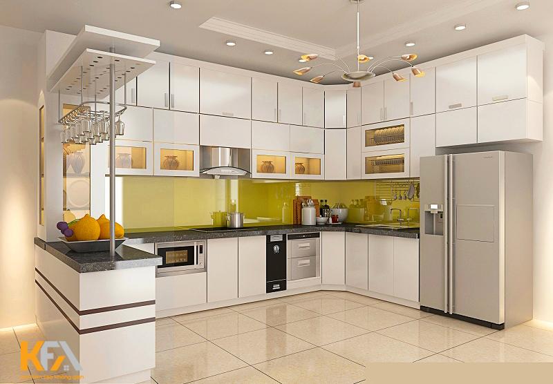 Thiết kế bếp hiện đại, đơn giản phù hợp với gia đình ít thành viên