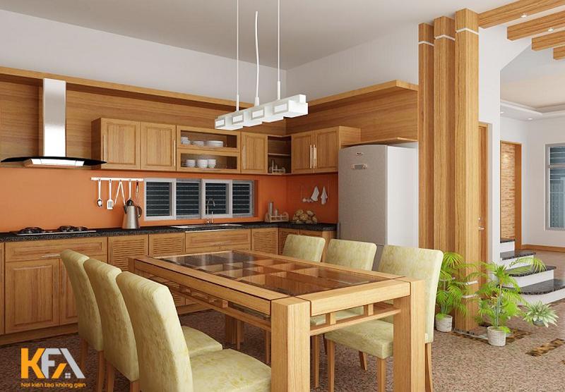 Không gian bếp kết hợp hoa văn nhỏ và vân gỗ nâu hài hòa