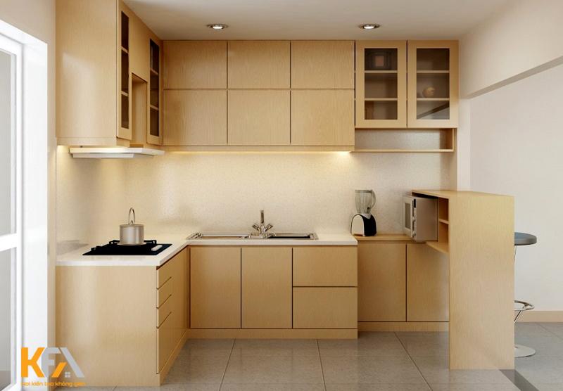 Không gian bếp mang phong cách lãng mạn, mềm mại kết hợp hài hòa từng chi tiết giữa lớp sơn mờ và tay nắm phía dưới.