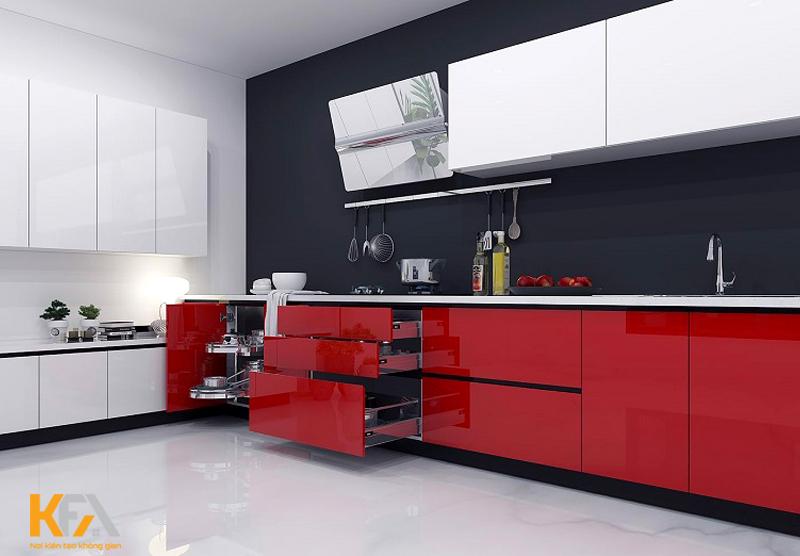 Tủ bếp chữ l phủ acrylic cho căn hộ nhỏ