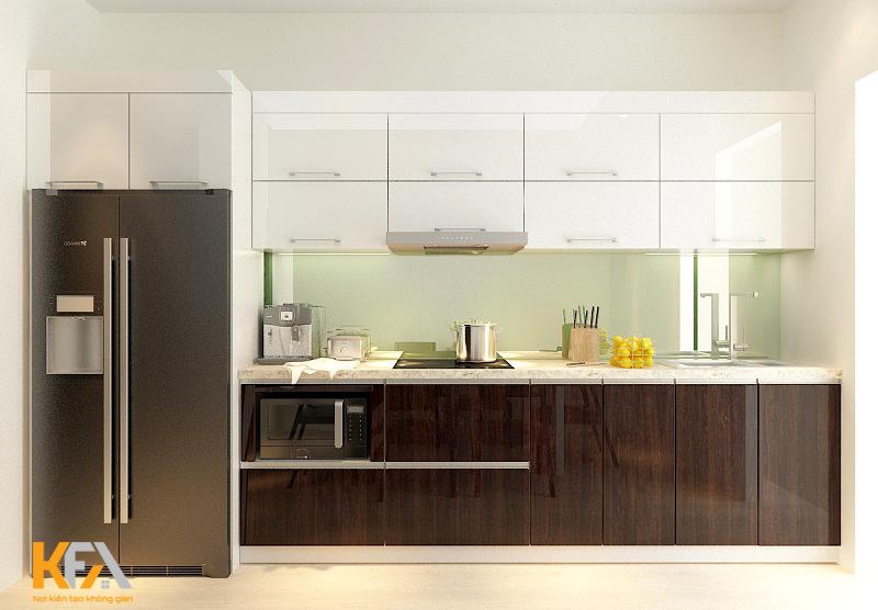 Tủ bếp âm tường là giải pháp cho những gia đình hạn chế về diện tích