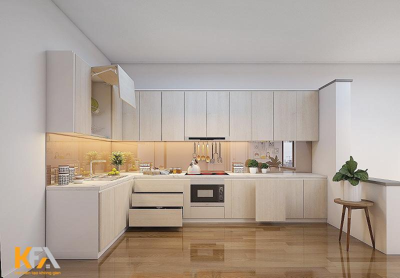 Tủ bếp màu trắng làm nổi bật phong cách Bắc Âu