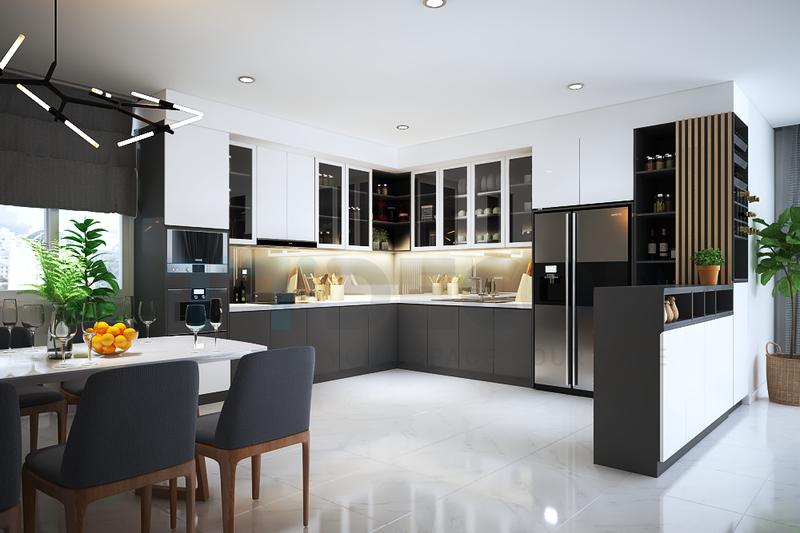 Bạn sẽ thấy rằng gương acrylic giúp tạo ra tủ bếp đẹp hiện đại