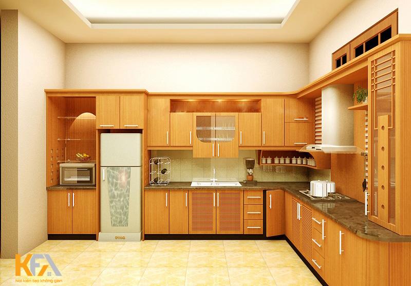 Tủ bếp được trang bị tủ và kho độc lập đảm bảo tính khoa học và tiện dụng
