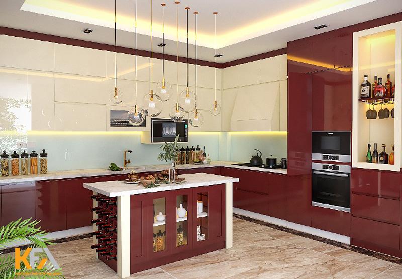 Tất cả các tủ bếp đều kết hợp màu sắc hiện đại và sang trọng