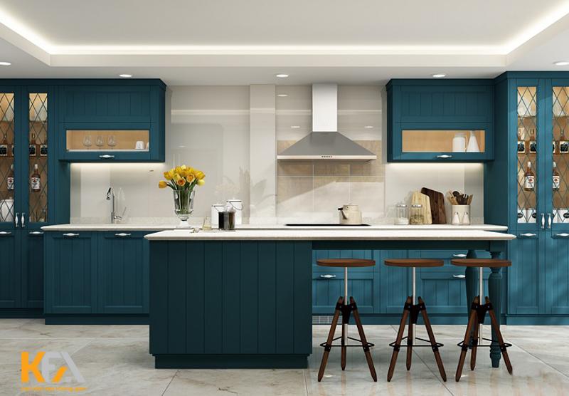 Tủ bếp đẹp với thiết kế quầy bar màu trắng xanh ấn tượng