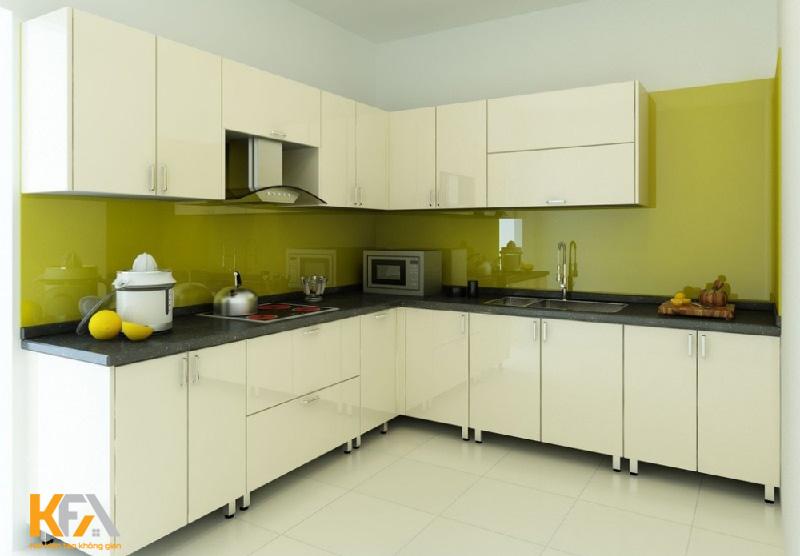 Mẫu tủ bếp mdf phủ melamine cho căn hộ nhỏ