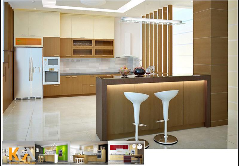 Tủ bếp, khu nấu nướng, lưu trữ khoa học và tiện dụng