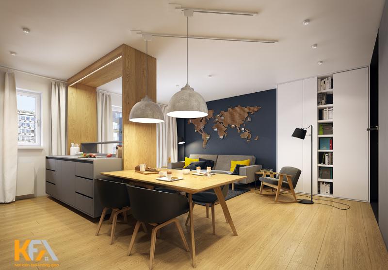 Không gian biến tấu một chút để tạo sự hài hòa cho căn hộ hiện đại.