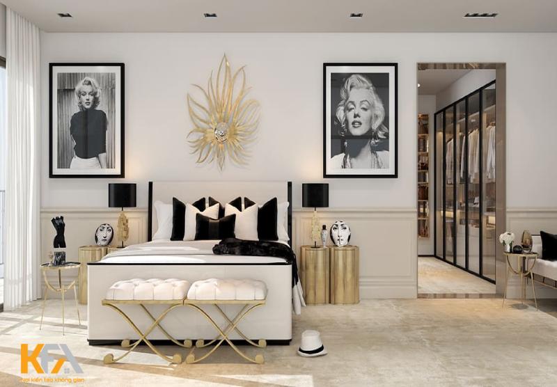 Mẫu phòng ngủ đậm chất kiến trúc Pháp với màu vàng ánh kim