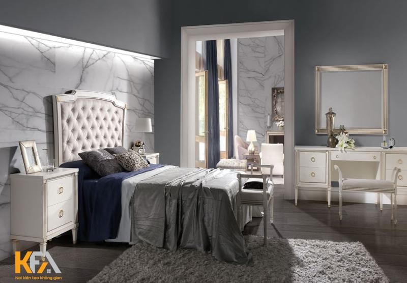Họa tiết trên rèm cửa, chăn ga hay sofa thường được chọn mang yếu tố hình họccho không gian thêm phần tinh tế